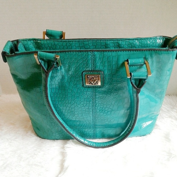 c450b1277c26 Anne Klein Handbags - Anne Klein Aqua Faux Patent Leather Croc Tote